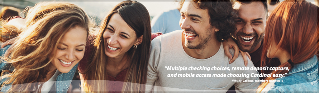 Checking Account Banner - Happy People Laughing