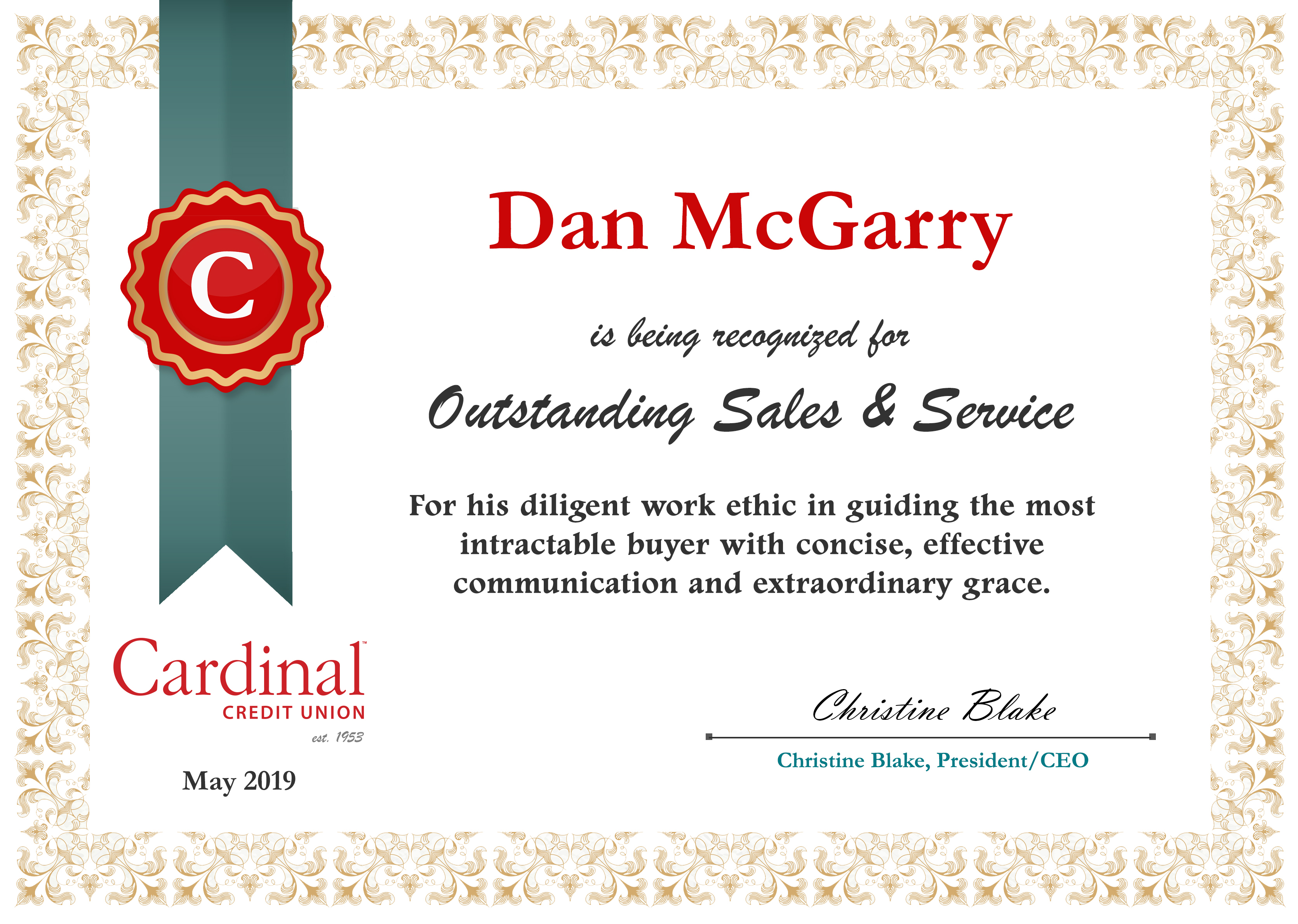 Dan McGarry certificate of recognition for outstanding sales and service