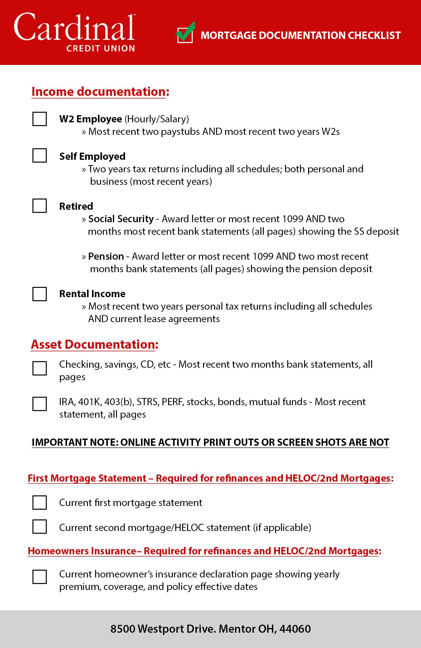 Mortgage documentation checklist