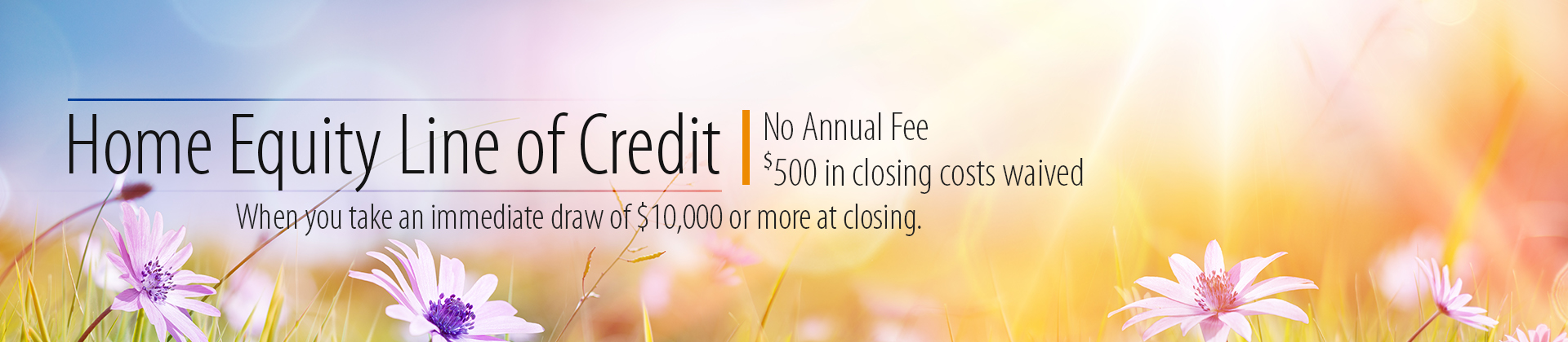 Home Equity Line of Credit - No Annual Fee - $500 in closing costs waived - When you take an immediate draw of $10,000 or more at closing.